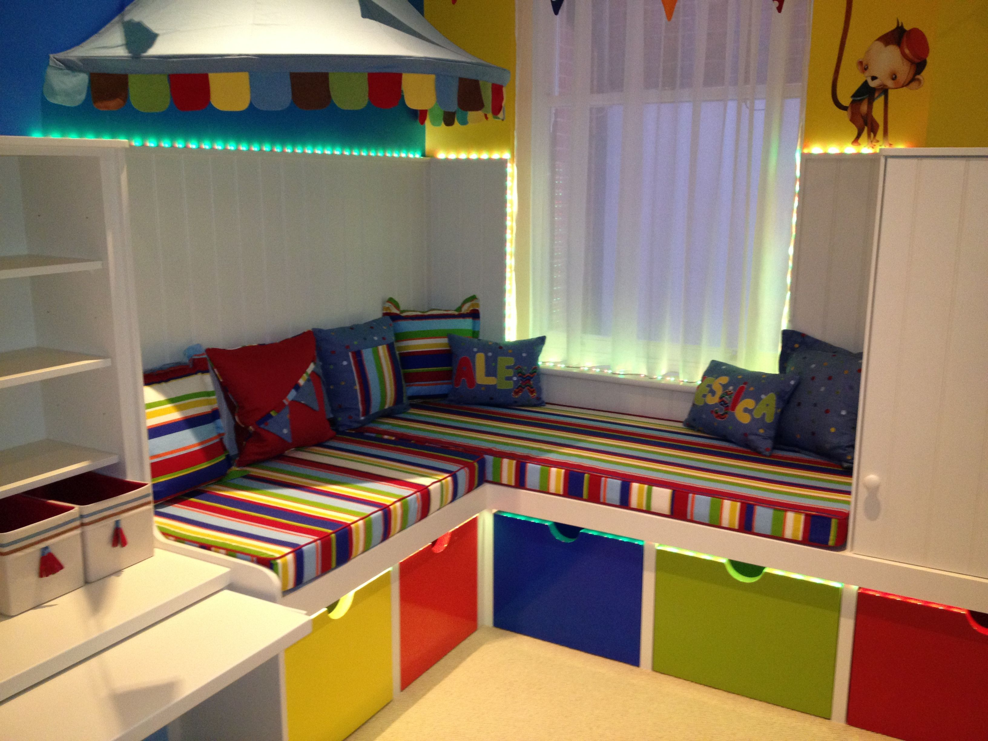 Childrens Play Room Glamorous We Created An Area For Books And Drawing Behind The Cloud Screen Design Ideas