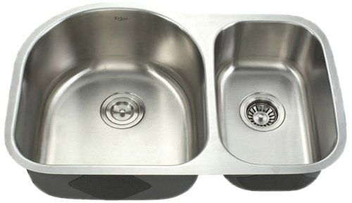 Kraus 30 Inch Undermount 60 40 Double Bowl 16 Gauge Stainless