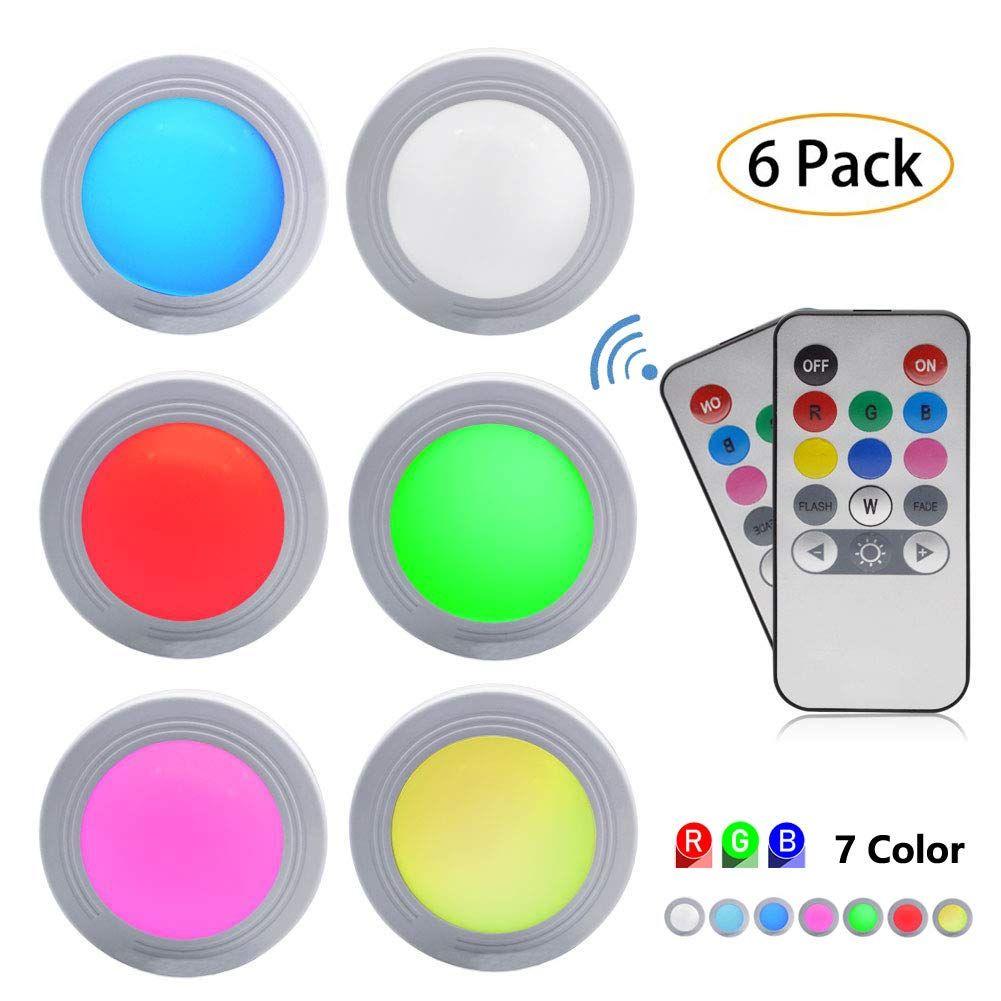 Sorxine Under Cabinet Led Lights 2 Wireless Remote Control Color Changing Led Under Counter Puck Light Rgb Puck L In 2020 Color Changing Led Led Puck Lights Led Lights