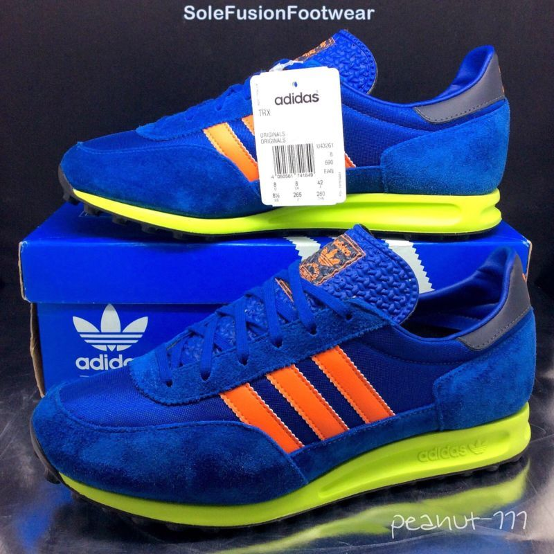 adidas Originals Mens TRX Running Trainers Blue Orange sz 8 Rare EU 42 US 8.5
