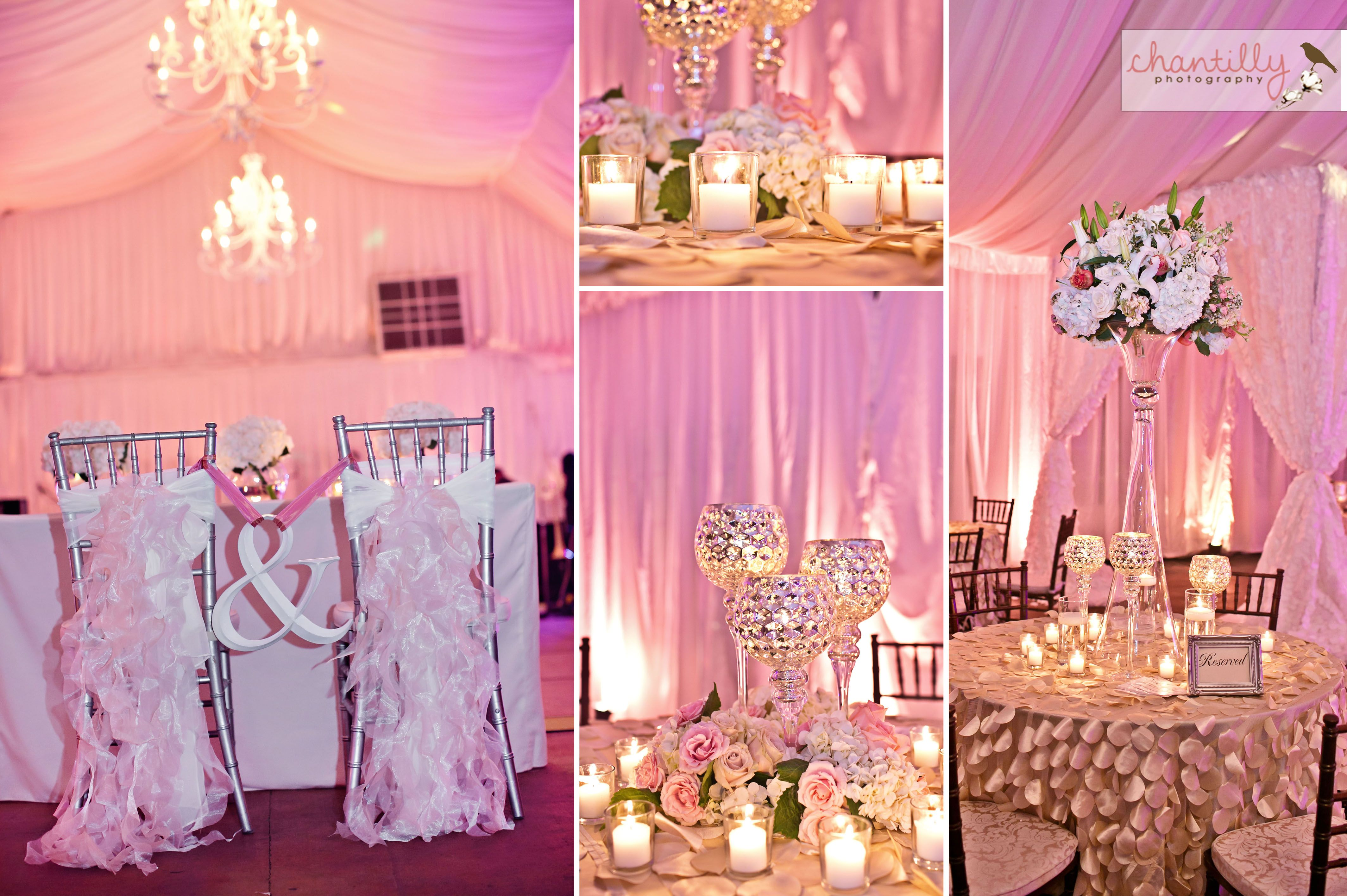 Rose Gold Wedding Ideas For Ceremony Reception Décor: Grande Pavillion With Rose Gold Uplighting- Nottoway