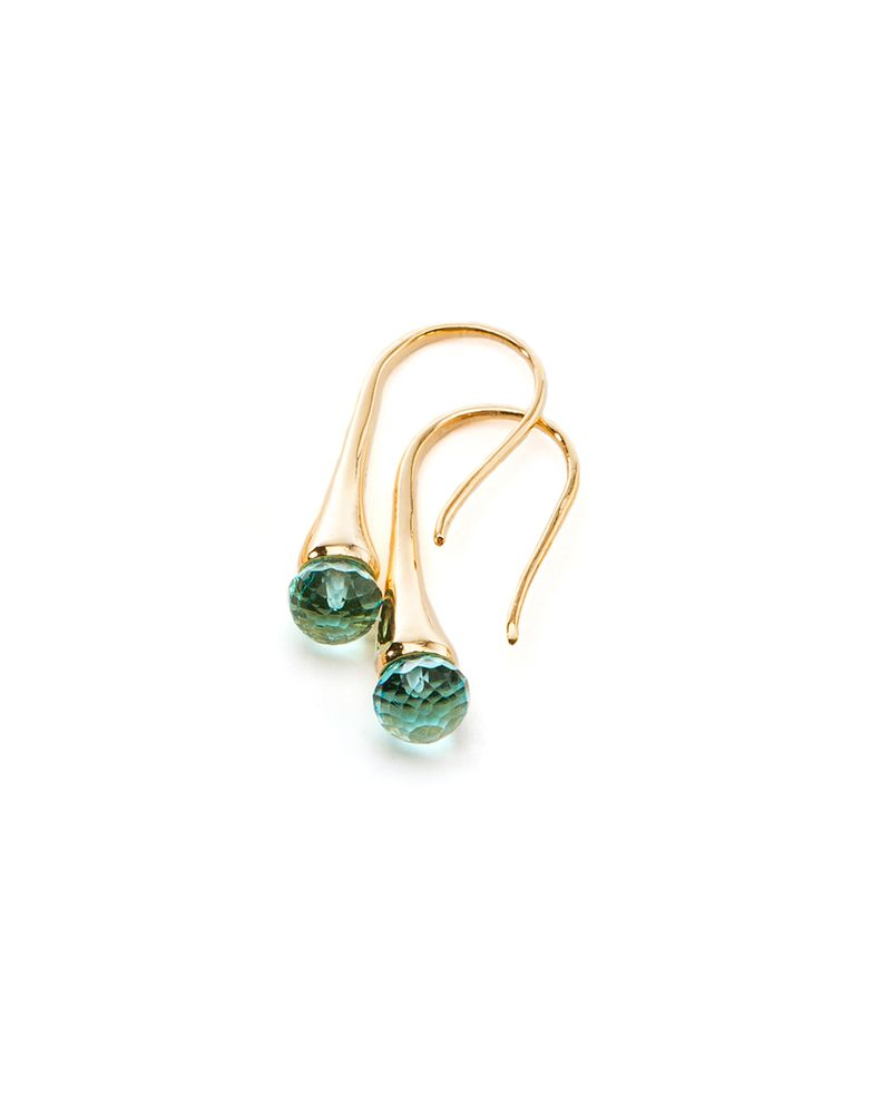 Blue Topaz Color Drop Gold Earrings