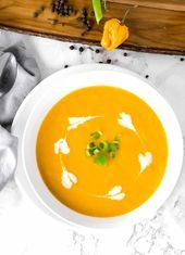 Amazing taste of traditional Jamaican Pumpkin Soup without the meat full of flavor and the best vegan version you can find using simple ingredients w