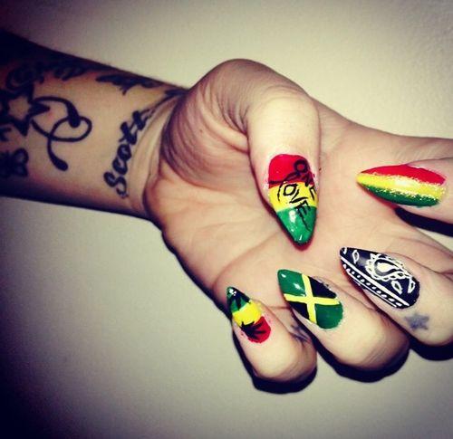 Jamaica & bandana design stiletto nails - Jamaica & Bandana Design Stiletto Nails Pretty N A I L S