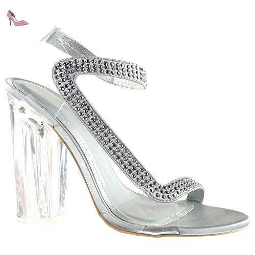 Angkorly - Chaussure Mode Sandale Escarpin sexy soirée femme strass diamant transparent Talon haut bloc 12 CM - Argent - 708-2 T 40 - Chaussures angkorly (*Partner-Link)