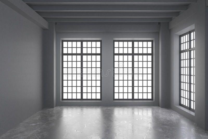 Modern Empty Loft Room With Grey Walls Concrete Floor And Big Windows Affiliate Room Grey Loft Modern Empty Loft Room Grey Walls Concrete Floors