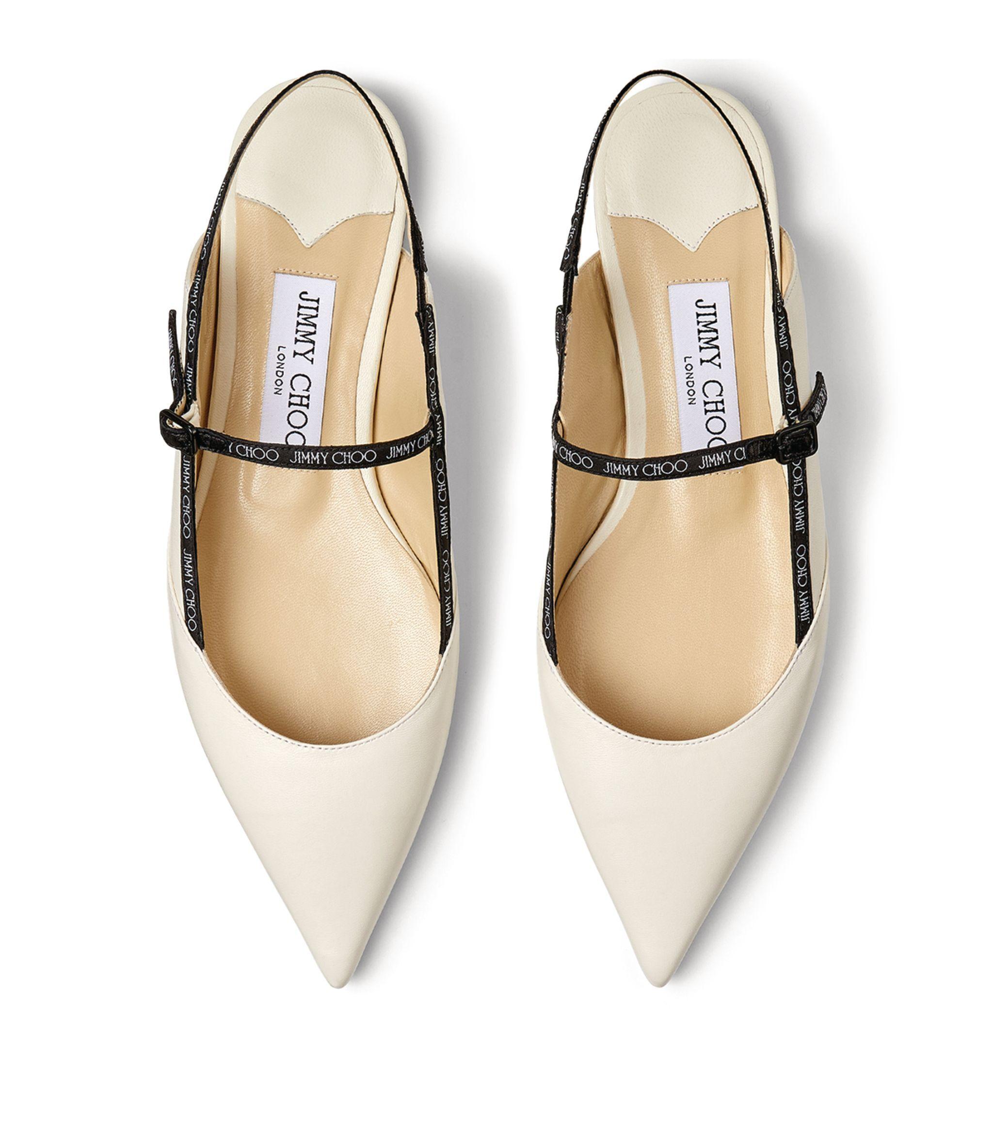 Jimmy Choo white Ree Leather Flats