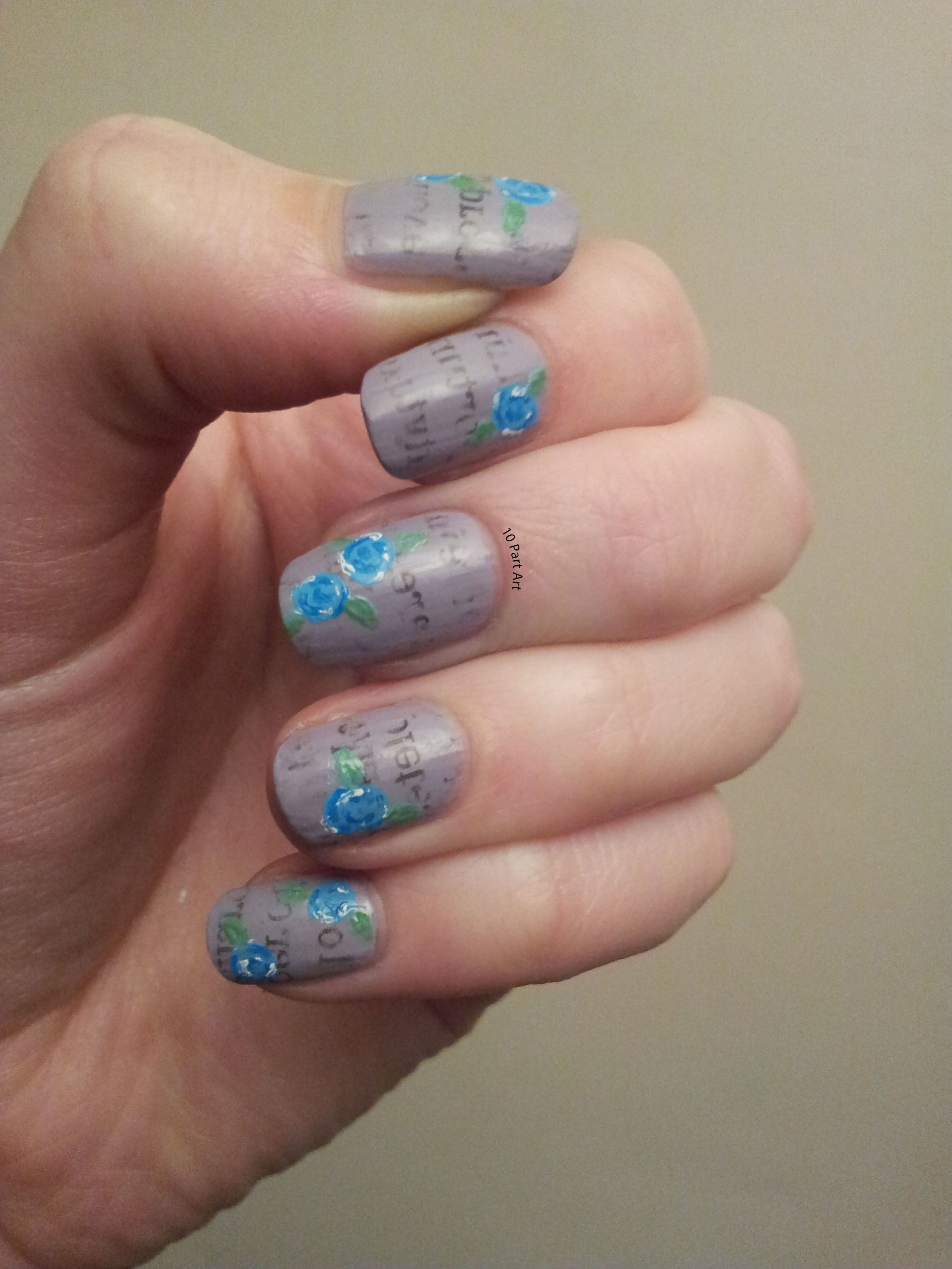 newspaper print nail art with flowers | My own nail art | Pinterest ...