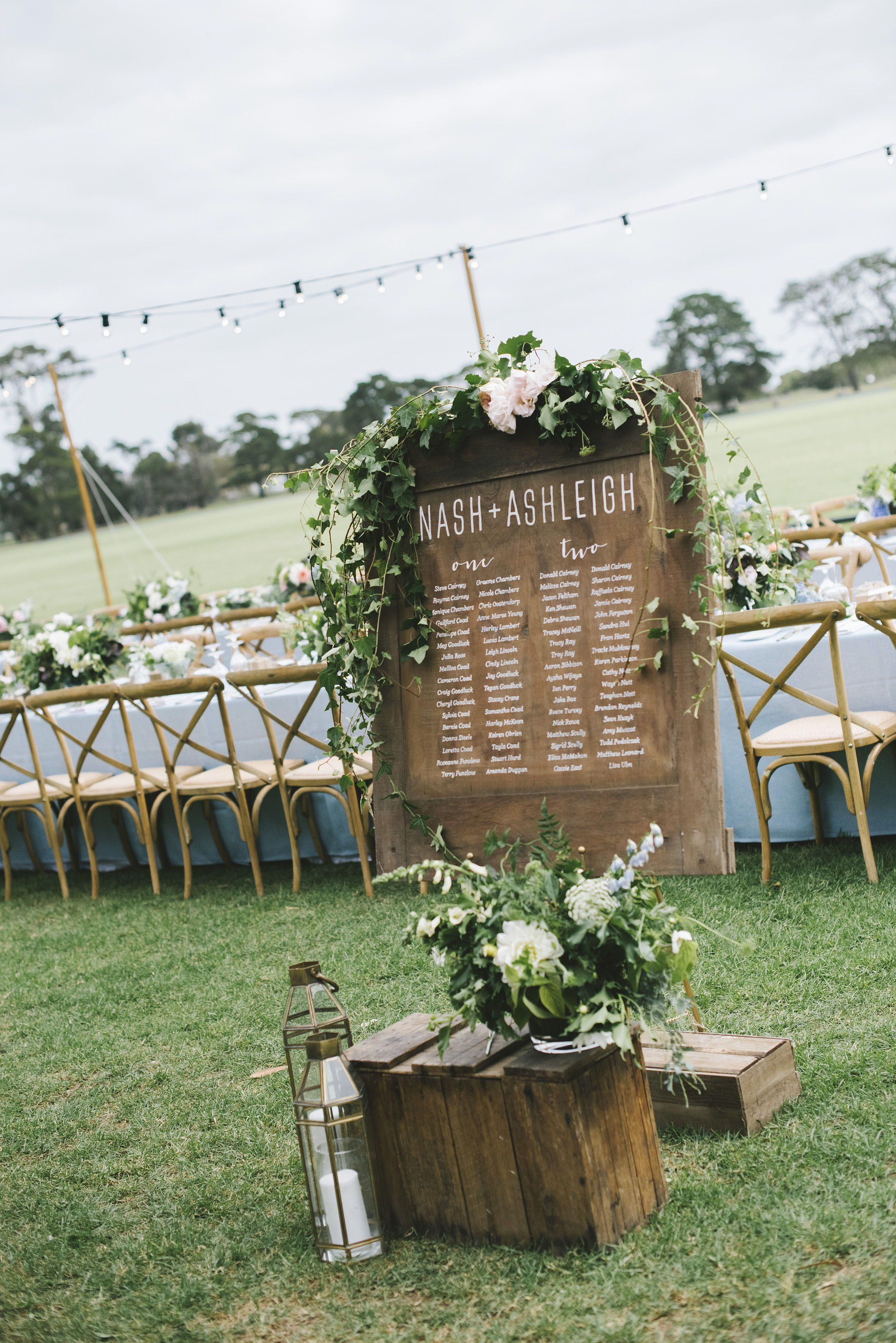 Vintage rustic romantic wedding table seating chart garden