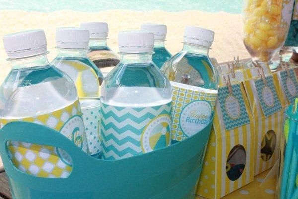 pool party water bottles