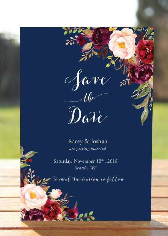 Navy Floral Wedding Invitations, Navy Wedding Invite, Marsala - fresh birthday invitation sample card