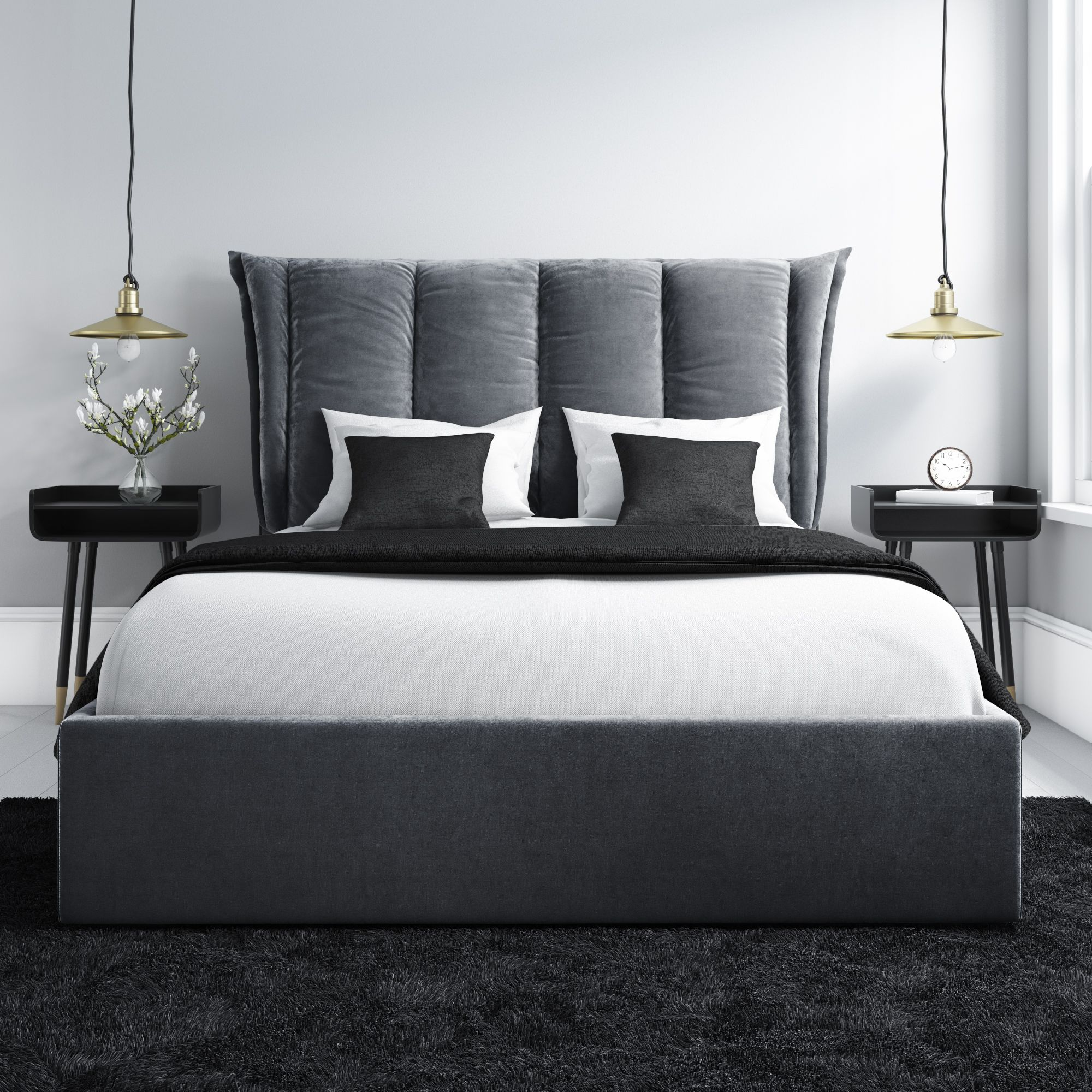 Velvet Ottoman Bed With Cushioned Headboard In Grey Cushion Headboard King Size Bed Furniture Ottoman Bed