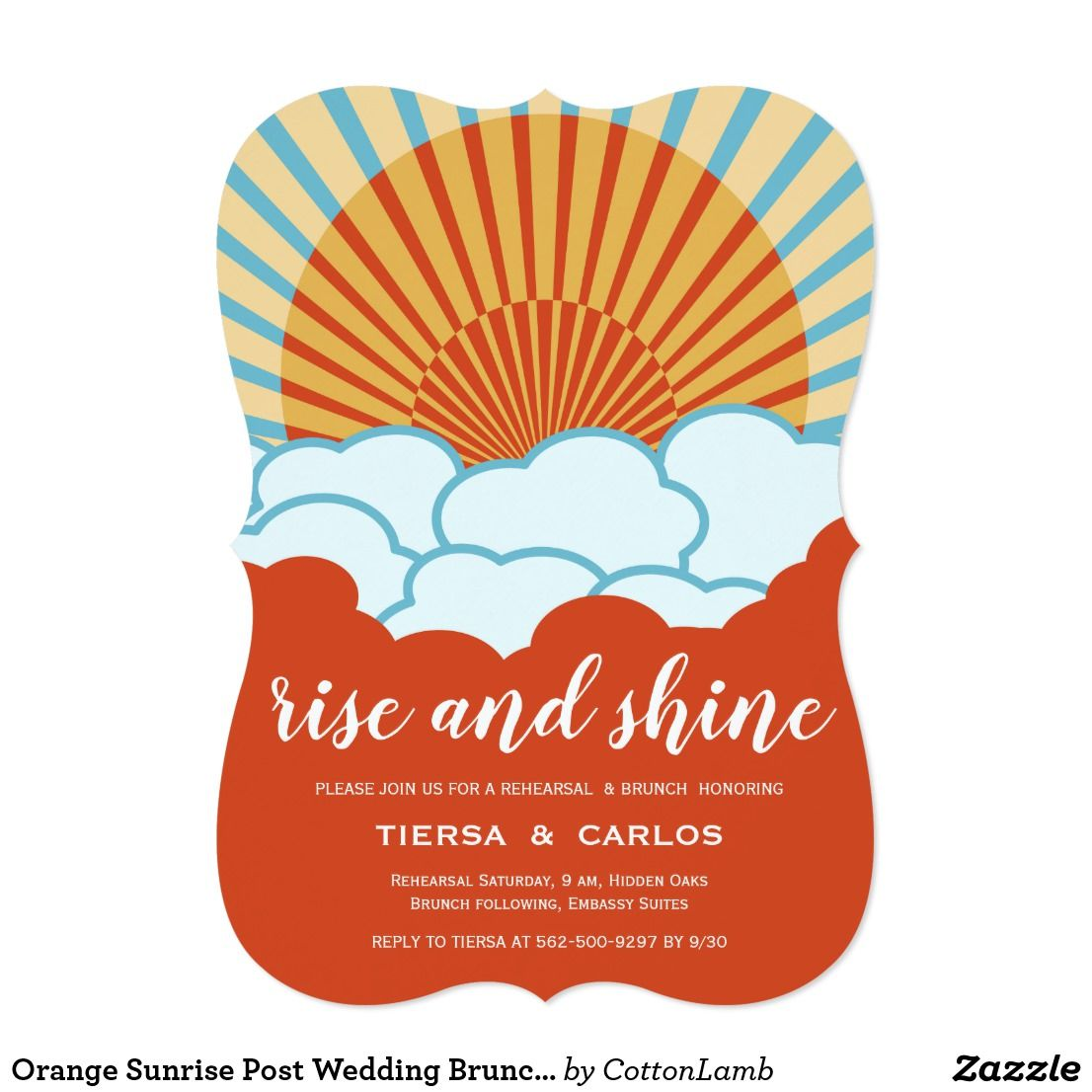 Orange Sunrise Post Wedding Brunch Invitation | Pinterest