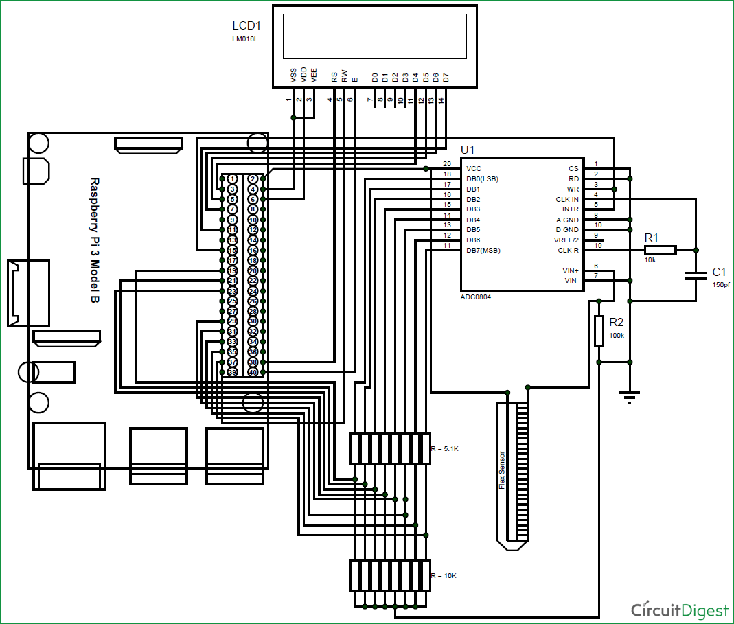 schematic diagram for interfacing flex sensor with raspberry pi [ 1069 x 909 Pixel ]