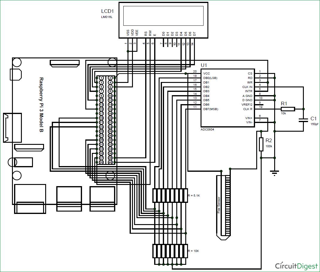 Schematic diagram for interfacing flex-sensor with raspberry ... on