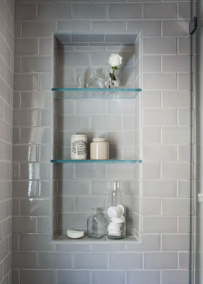 Gray Subway Tile In Shower With Matching Grout Shower Cubbies