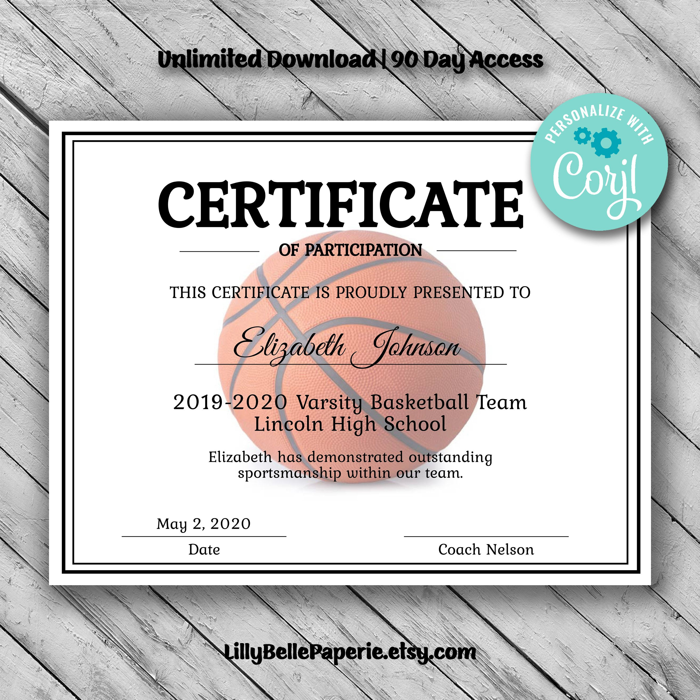 Basketball Certificate Certificate Template Printable Certificates Certificate Templates Printable Free basketball certificates to print