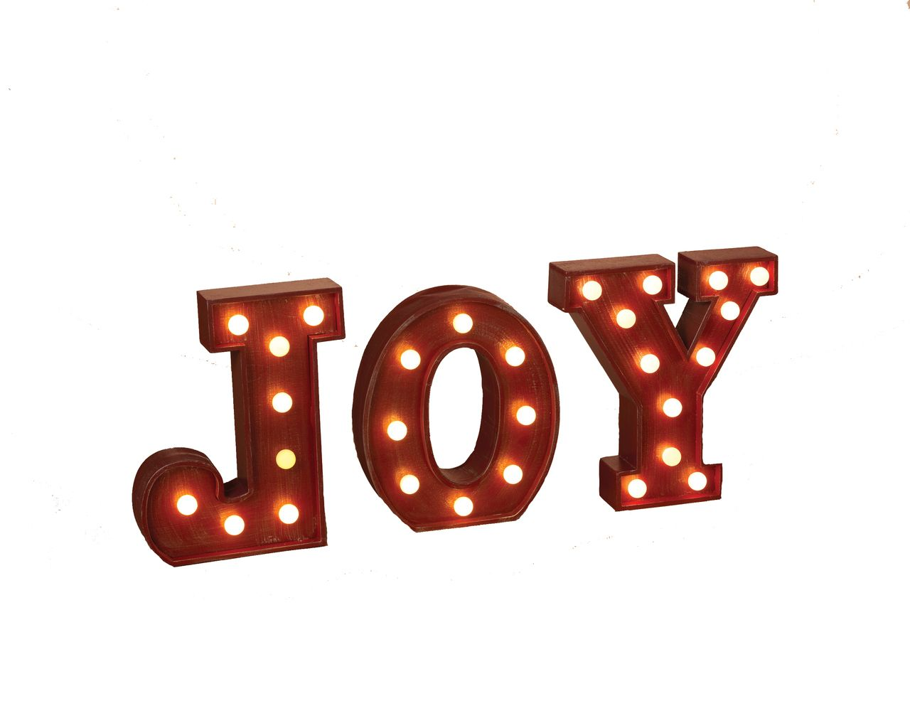 The Jolly Christmas 10 Red Lighted Wooden Marquee Letters Joy Standing Sign 2229760