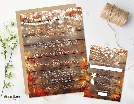 Rustic Fall Wedding Invitation Set in Fall by OddLotPaperie