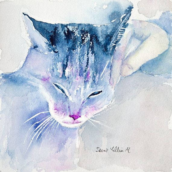 Original Purring Cat Watercolor Original Purring Cat Painting