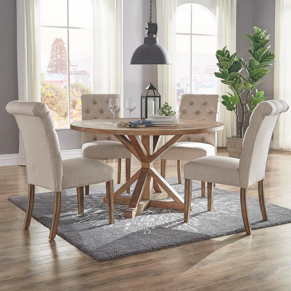 Homesullivan Huntington Grey Linen Button Tufted Dining Chair Set