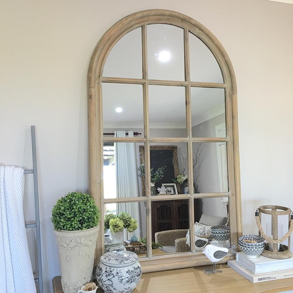 Rustic Wooden Arch Window Mirror Vintage Window Panes Hamptons French Provincial Arched Window Mirror Mirror Decor Living Room Vintage Wall Decor Bedroom
