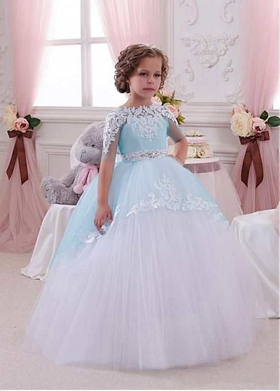 666f8d2f93be2 Eye-catching Tulle & Satin Bateau Neckline Ball Gown Flower Girl Dresses…