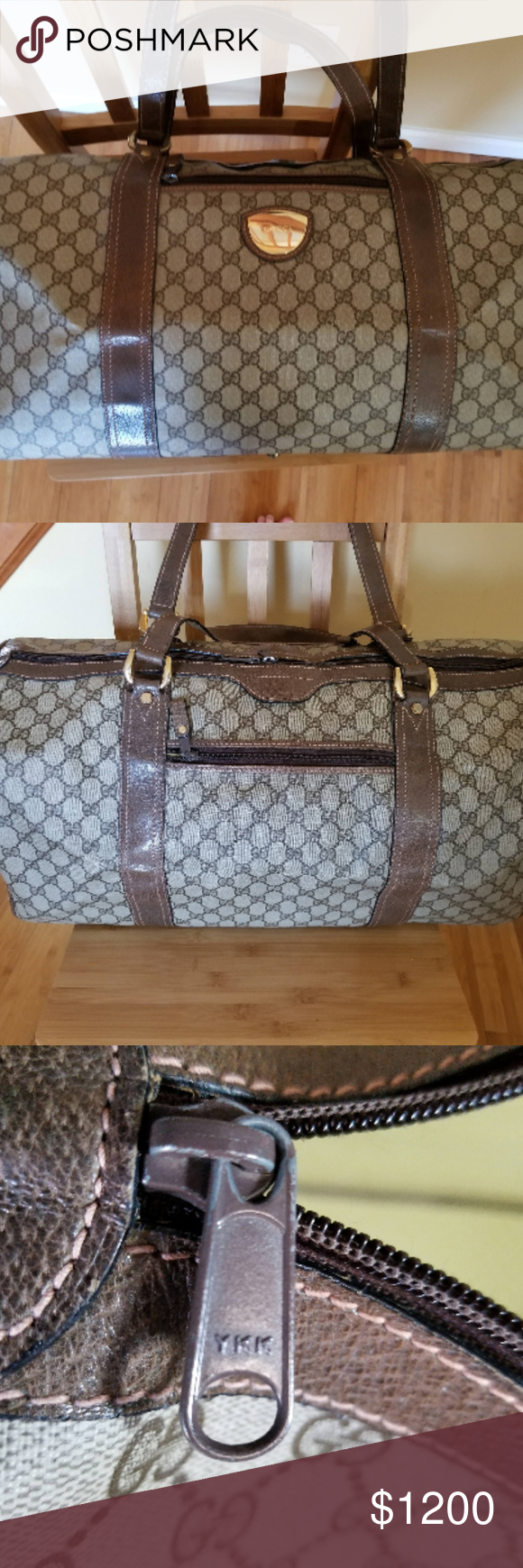 f981324704a1 Vintage Gucci Plus Duffle Gym Travel bag Great Rare Vintage Brown Gucci  Plus Wide Zip Top