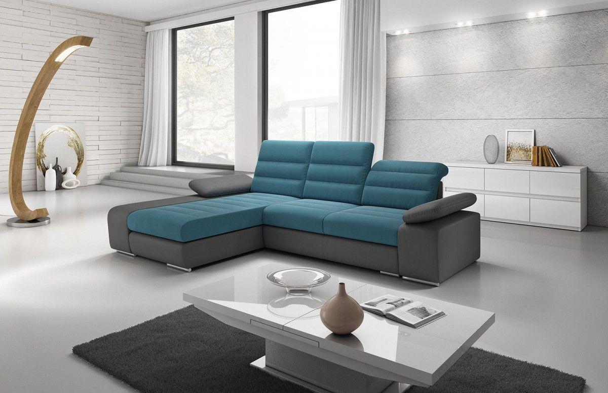 Salon Canape D Angle Convertible Design 3 Places En Tissu Bleu Et Simili Cuir Gris Avec Coffre Meridienn Outdoor Sectional Sofa Sectional Couch Sectional Sofa