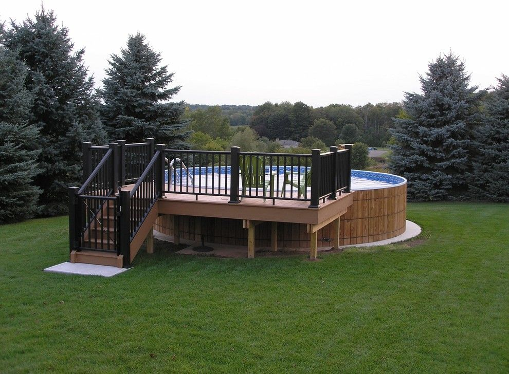 image by crestwood pools inc above ground pool decksground - Rectangle Above Ground Pool Decks