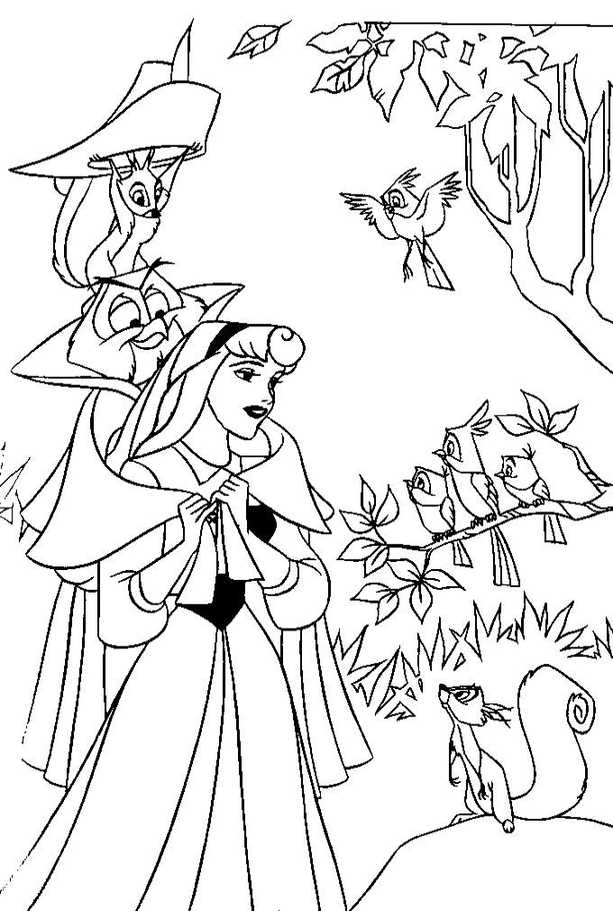 Disney-Princess-Aurora-With-the-Bird | Coloring Pages | Pinterest ...