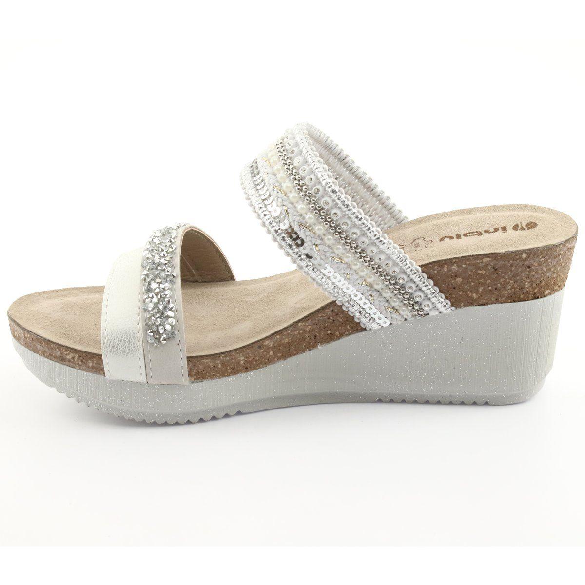 Klapki Na Koturnie Inblu En010 Srebrzyste Biale Szare Shoes Espadrilles Sandals