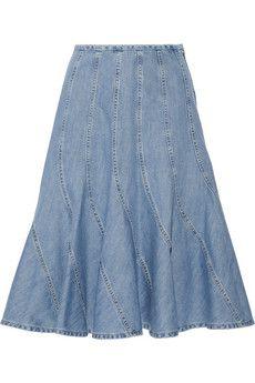 Michael Kors Fluted denim skirt | NET-A-PORTER