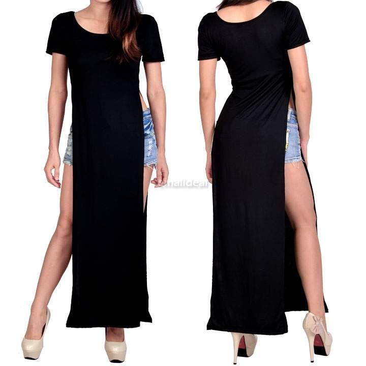 ad2a3cc5567 Women-Sexy-High-Slits-Casual-Side-Tee-Long-Top-Maxi-Dress-T-shirt-Tops- Blouse
