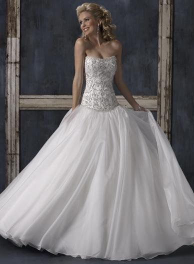 Lace Embroidery Drop Waist Wedding Dress Organza Bridal Gown