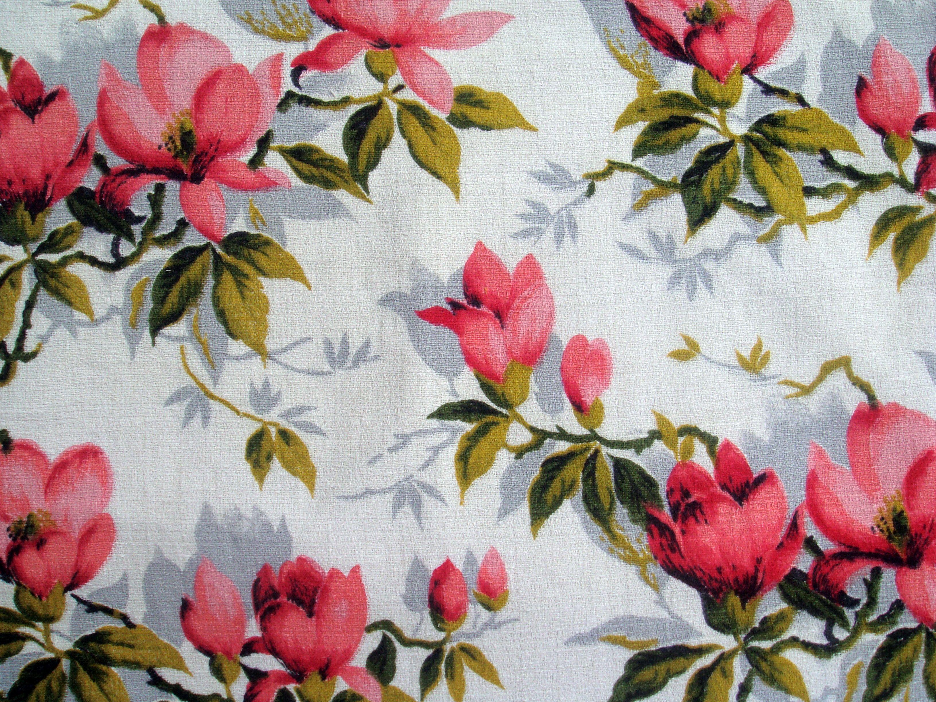 VINTAGE fabrics | Pink Floral Vintage 50s Handmade Cushion Cover | Black Cat Vintage