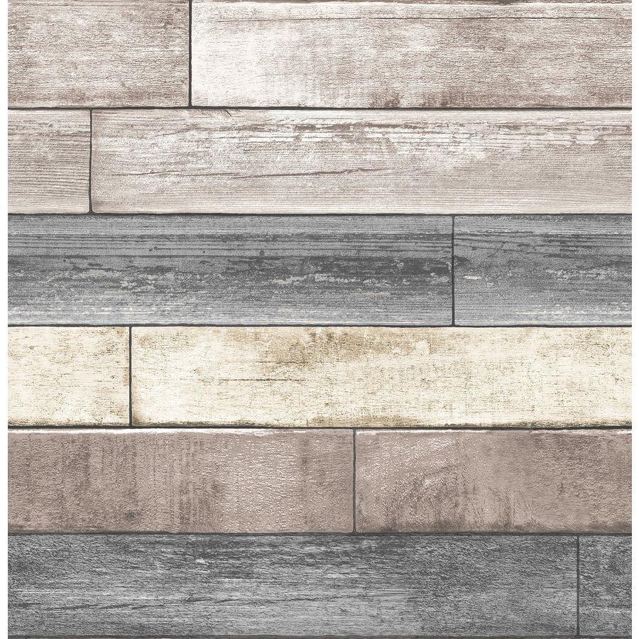 Nuwallpaper 30 75 Sq Ft Neutral Vinyl Textured Wood 3d Self Adhesive Peel And Stick Wallpaper Lowes Com Wood Plank Wallpaper Reclaimed Wood Wallpaper Wood Wallpaper