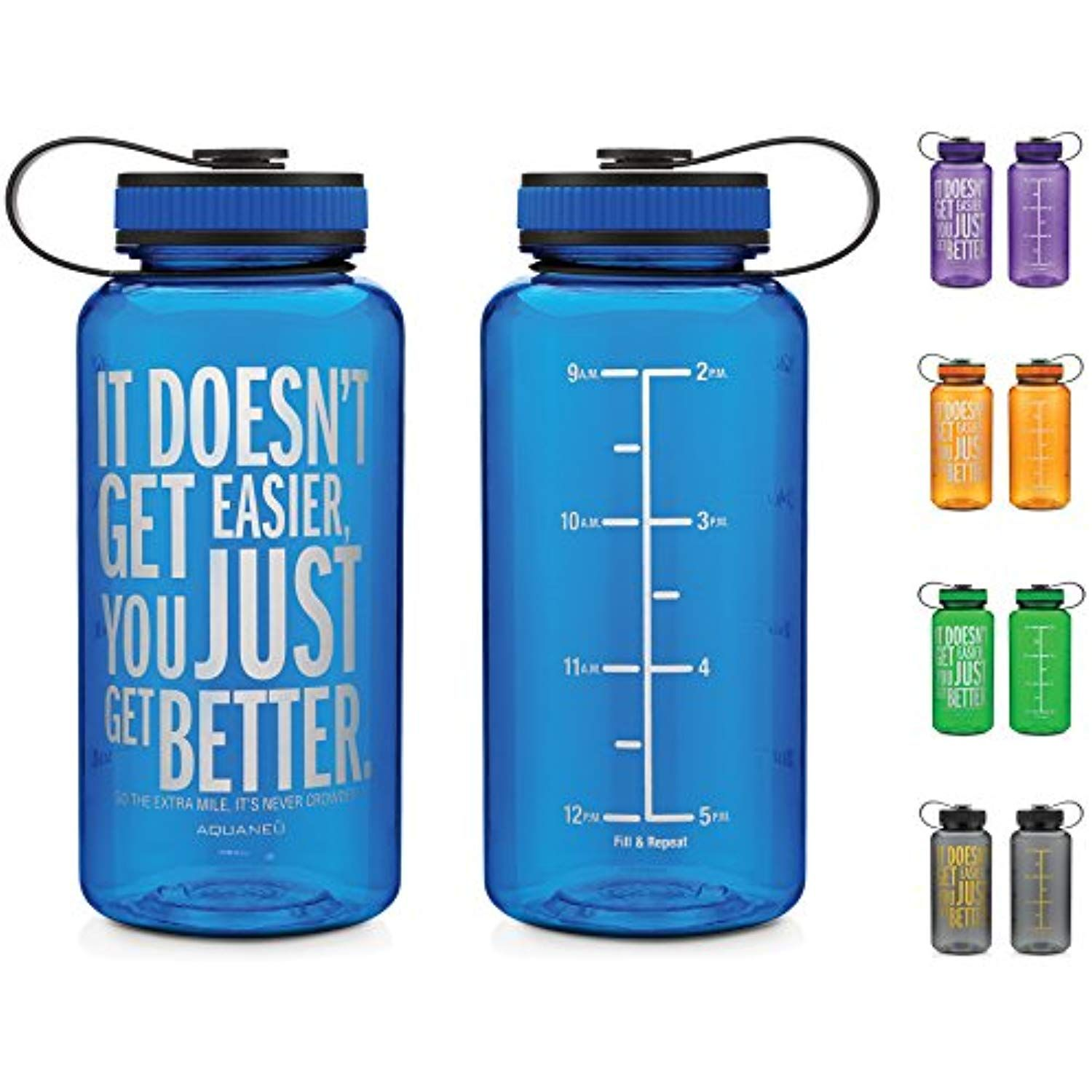 0abab4451c AQUANEÜ 34oz Inspirational Fitness Workout Sports Water Bottle with Time  Marker | Measurements | Goal Marked Times For Measuring Your H2O Intake, ...