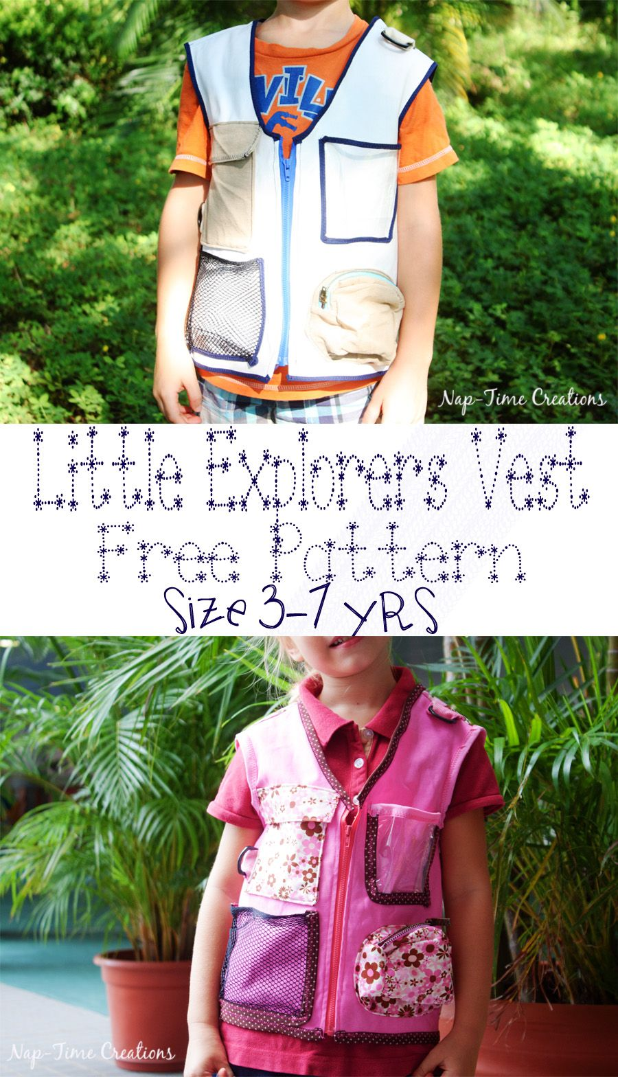 Explorers vest free pattern and tutorial Size 3-7yrs from Nap-Time ...