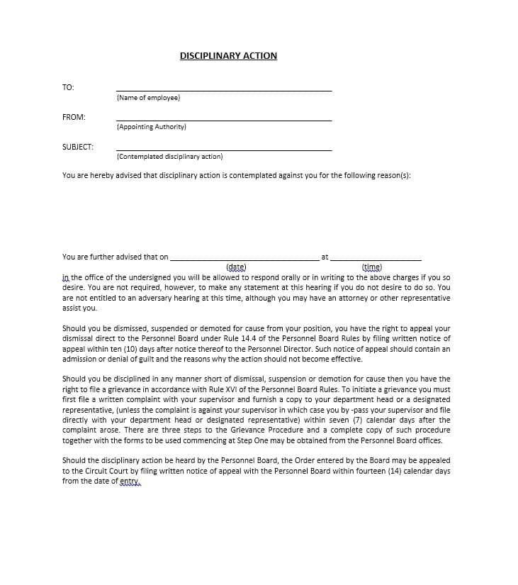 40 Employee Disciplinary Action Forms ᐅ Templates Form Employee