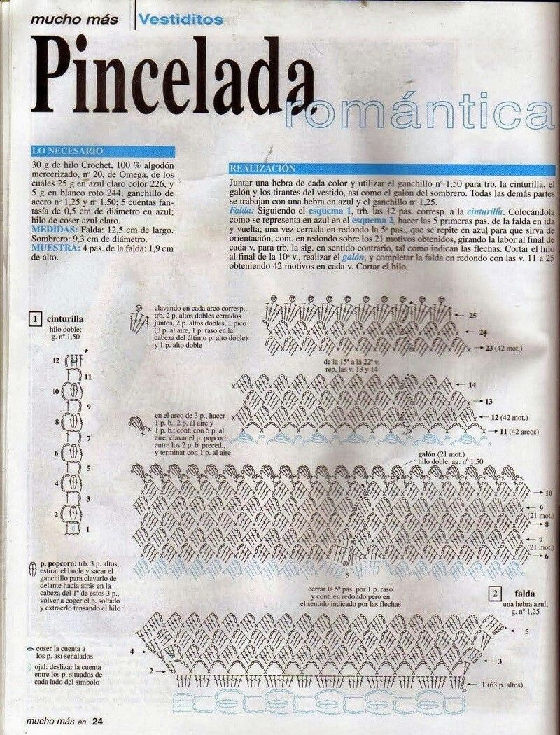 Pincelada 1 | 2 Patrones crochet | Pinterest | Pinceladas, Faldas ...
