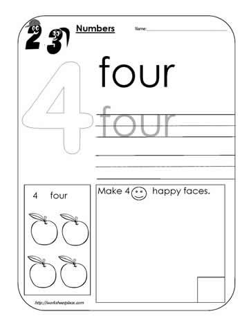 number 4 worksheet math pinterest worksheets numbers and school. Black Bedroom Furniture Sets. Home Design Ideas