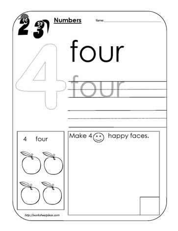 Number 4 Worksheet Math Preschool lesson plans