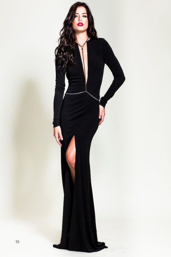 Nicole Bakti Deep V Black Gown With Slit And Body Chain Products