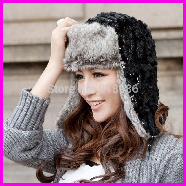 d87aba0fc 2015 Fashion Women's Winter Warm Fur Bomber Hats Sequins Cap With ...