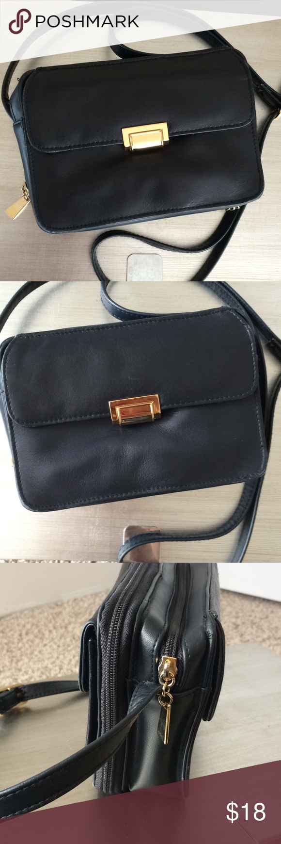 "????80s Leather Crossbody Camera Purse Featuring a cute 80s camera purse crossbody in great condition:  - 7.25"" x 5"" x 2.75""; strap drop (adjustable) 23"" to 27"" - quality black leather w/gold hardware; minimal signs of use (see back of purse in pics for few marks).              - plenty of storage organizers, including built in wallet/credit card holders and extra zip pockets.      Thank you for looking! Please ask any questions before buying. We want you to be happy with your item. Ba #camerapurse"