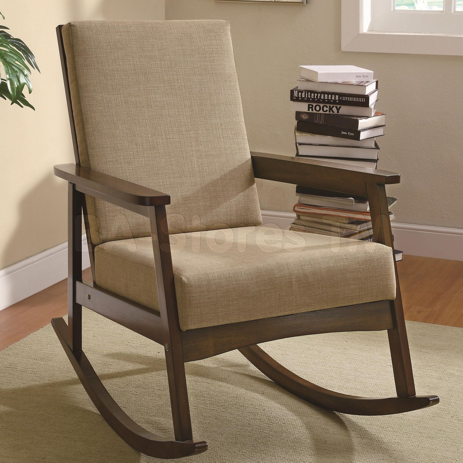 Casual Rocking Chair with Padded Back in Walnut   Chairs & Benches COA-902075/4
