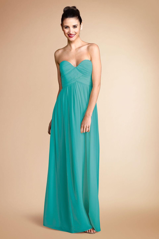 Donnamorgan lauren bridesmaids dress in blue green bridesmaids
