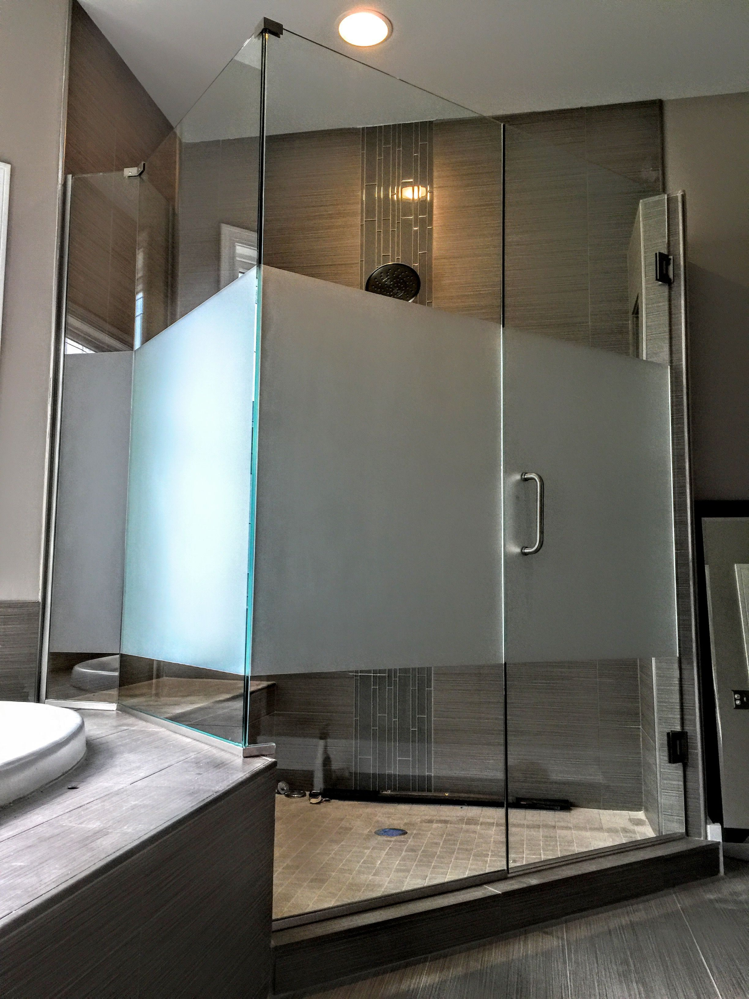 Etched Glass Shower Doors Give Your Shower A Little Privacy With