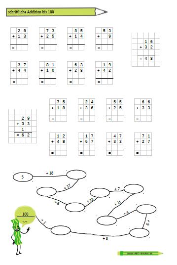 Addition im ZR bis 100 - Arbeitsblätter | Mathematik | Pinterest | Math